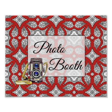 Wedding Themed Red, Black  Photo Booth Wedding Sign Poster
