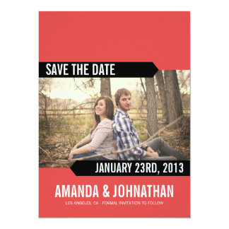 Red & Black Photo Save The Date Announcements