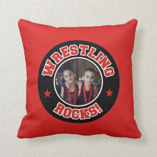 Red & Black Photo Wrestling Rocks Pillow