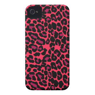 Red Black pink leopard print Case-Mate iPhone 4 Cases