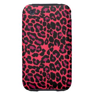 Red Black pink leopard print Tough iPhone 3 Case