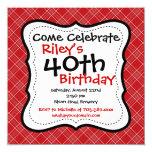 "Red Black Plaid 40th Birthday Party Invitations 5.25"" Square Invitation Card"