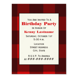 Red & Black Plaid Birthday Party Invitation