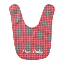 Red Black Plaid Check Baby Bib Monogram
