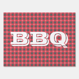 Red Black Plaid Check BBQ Yard Sign