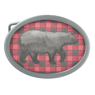 Red Black Plaid Check Belt Buckle with Bear