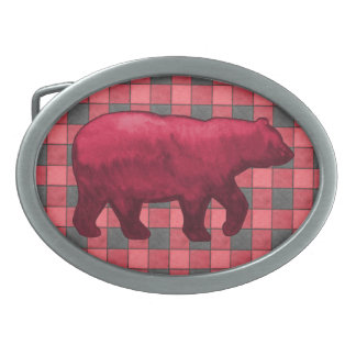 Red Black Plaid Check Belt Buckle with Red Bear