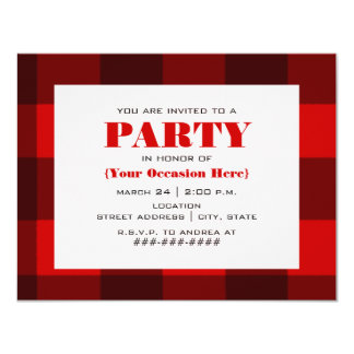 Red & Black Plaid Party Invitation