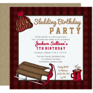 Red | Black Plaid Sledding Birthday Party Card