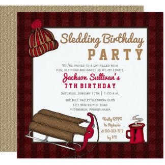 Red | Black Plaid Sledding Birthday Party Card