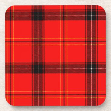 Beach Themed Red & Black Plaid Tartan Decorative Coasters