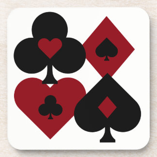 Red & Black Poker Card Deck Suits Coaster