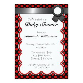 Red & Black Polka Dot Baby Shower Invitations