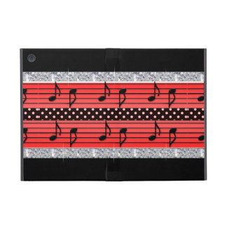 Red Black Polka Dot Diamonds Musical Notes iPad Mini Covers