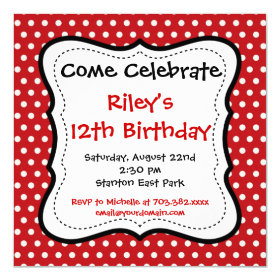 Red Black Polka Dots Birthday Party Invitations 5.25