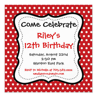 Red Black Polka Dots Birthday Party Invitations