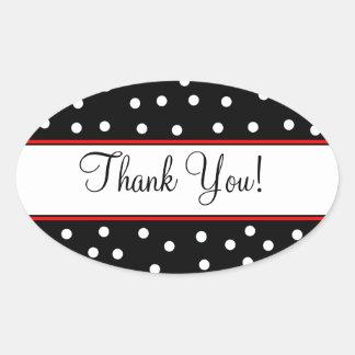 Red Black Polka Dots-Wedding Oval Sticker