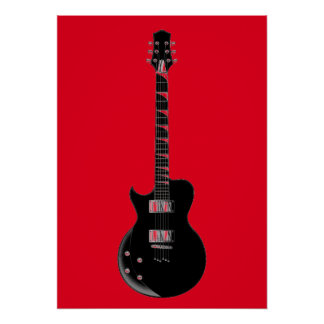 Red Black Pop Art Electric Guitar Poster