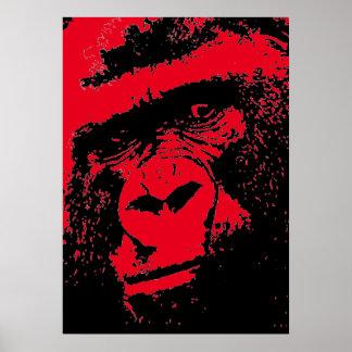 Red Black Pop Art Gorilla Face Poster