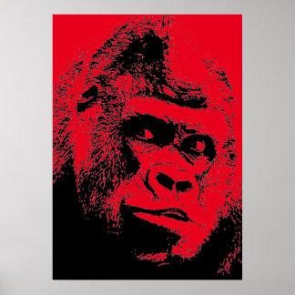 Red Black Pop Art Gorilla Poster
