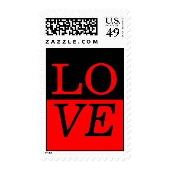 Red Black Pop Art Love Wedding Stamp