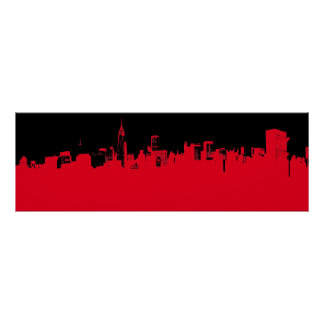 Red Black Pop Art New York City Skyline Poster