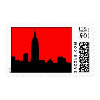 Red & Black Pop Art New York Silhouette Postage