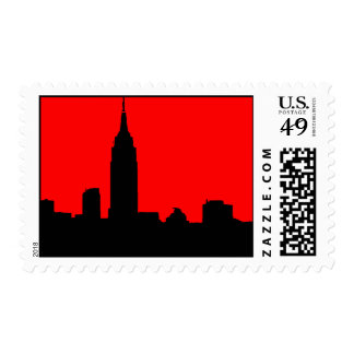 Red & Black Pop Art New York Silhouette Postage