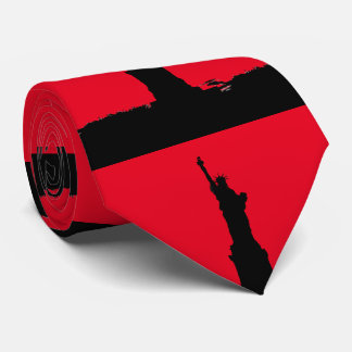 Red Black Pop Art Statue of Liberty Silhouette Neck Tie