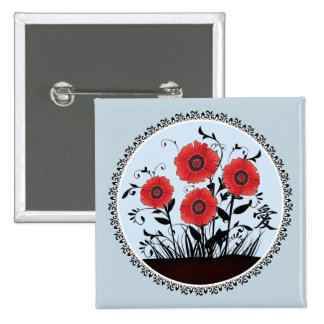 """Red black poppies """"Love"""" Button"""