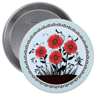 """Red black poppies """"Love"""" Pinback Button"""