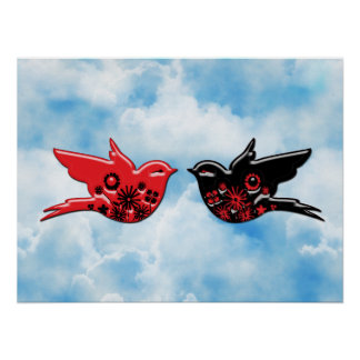 Red & Black Porcelain Birds with Flower Cut Outs Poster