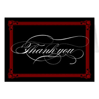 Red & Black Poster Style Thank You Card