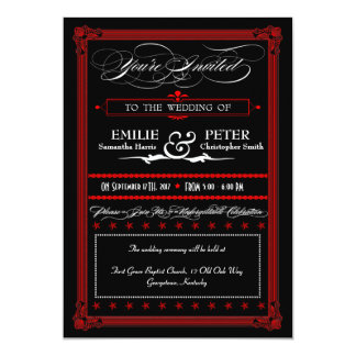 Red & Black Poster Style Wedding Invitations