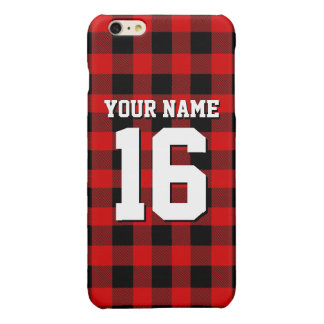 Red Black Preppy Buffalo Plaid Team Jersey Glossy iPhone 6 Plus Case