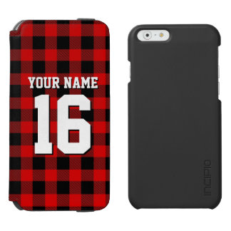 Red Black Preppy Buffalo Plaid Team Jersey iPhone 6/6s Wallet Case