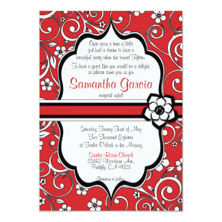 Red & Black Quinceañera Invitation, Sweet 15 Card