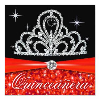 Red Black Quinceanera Princess Tiara Bling Card