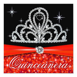 Red Black Quinceanera Princess Tiara Bling Invitation