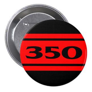 Red Black Race Stripe Muscle Car 350 Button