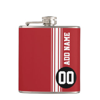 Red Black Racing Stripes Custom Name Number Flasks
