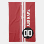 Red Black Racing Stripes Custom Name Number Kitchen Towel