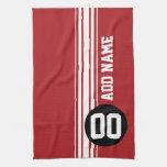 Red Black Racing Stripes Custom Name Number Towels
