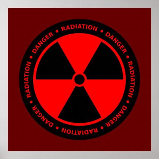 Red & Black Radiation Warning Poster