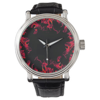 red black real fire flame vintage style watch