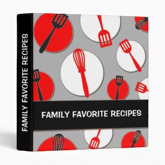 Red black retro kitchen utensils recipe binder