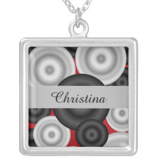 Red Black Retro Silver Plated Necklace