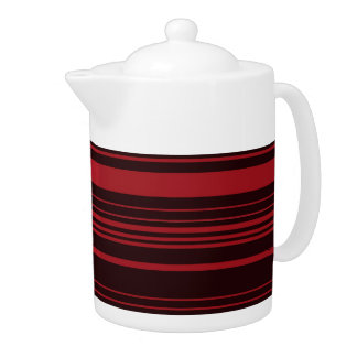 Red Black Retro Stripes Art pattern Teapot