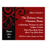 Red+Black Reverse Swirl Holiday Party Invitations