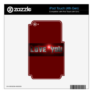 RED BLACK ROCK LOVE YOU COMMENTS EXPRESSIONS SAYIN iPod TOUCH 4G DECAL
